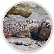 River Otters Round Beach Towel