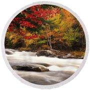 River Rapids Fall Nature Scenery Round Beach Towel by Oleksiy Maksymenko