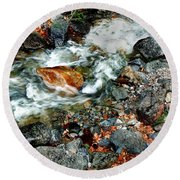 River Rock Leaves Round Beach Towel