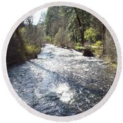 River Runs Through It Round Beach Towel