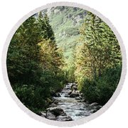 River Stream In Mountain Forest Round Beach Towel