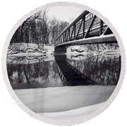 River View B And W Round Beach Towel