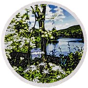 River View Through Flowers. On The Bridge Of Flowers. Round Beach Towel