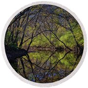 River Walk Reflections Round Beach Towel