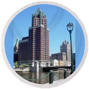 River Walk View Photo Round Beach Towel