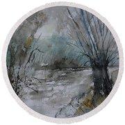 River Watercolor 711082 Round Beach Towel
