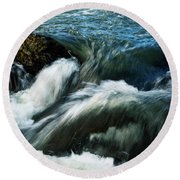 River With Rapids Round Beach Towel