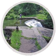 River Wye Weir Round Beach Towel