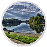 Riverbank Boats Round Beach Towel