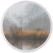 Riverbank In The Fog Round Beach Towel