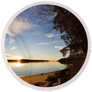 Riverbank Sunset Round Beach Towel