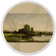 Riverbank With Fowl Round Beach Towel
