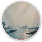 Riverbarge Round Beach Towel