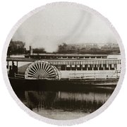Riverboat  Mayflower Of Plymouth   Susquehanna River Near Wilkes Barre Pennsylvania Late 1800s Round Beach Towel