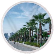 Riverside Promenade Park And Skyscrapers In Downtown Xiamen City Round Beach Towel
