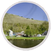 Riverside Setting At Monsal Dale Round Beach Towel