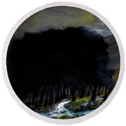 Riverside Tree Grove Round Beach Towel