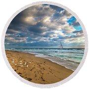 Riviera Beach Sunrise Round Beach Towel