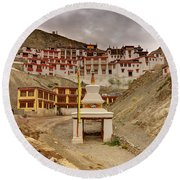 Rizong Monastery Ladakh Jammu And Kashmir India Round Beach Towel