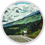 Road Alaska Bicycle  Round Beach Towel