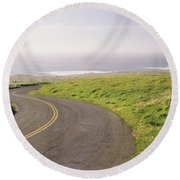Road Along The Coast, Point Reyes Round Beach Towel