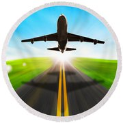 Road And Plane Round Beach Towel
