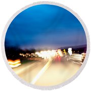 Road At Night 5 Round Beach Towel