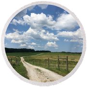 Road From The Farm Round Beach Towel