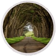 Road From The Station Round Beach Towel