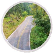 Road In The Black Hills Round Beach Towel