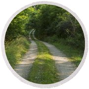 Road In Woods 1 H Windy Round Beach Towel