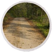 Road In Woods Autumn 2 A Round Beach Towel