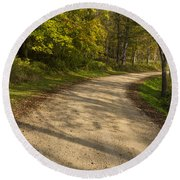 Road In Woods Autumn 3 A Round Beach Towel