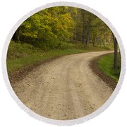 Road In Woods Autumn 3 B Round Beach Towel