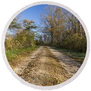Road In Woods Autumn 4 A Round Beach Towel
