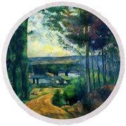Road Leading To The Lake, By Paul Cezanne, Circa 1880, Kroller-m Round Beach Towel