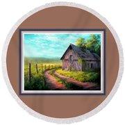 Road On The Farm Haroldsville L B With Alt. Decorative Ornate Printed Frame.   Round Beach Towel