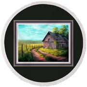 Road On The Farm Haroldsville L B With Decorative Ornate Printed Frame. Round Beach Towel