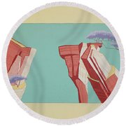 Road Runner Back Drop Round Beach Towel