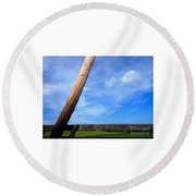 Road Side View Of Countryside Round Beach Towel