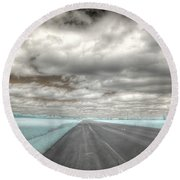 Road Sky Infrared Clouds Landscape Open Road Travel Path Road Trip Round Beach Towel