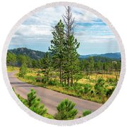 Road Through Custer State Park Round Beach Towel