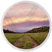 Road Through New Mexico Landscape At Sunrise Round Beach Towel