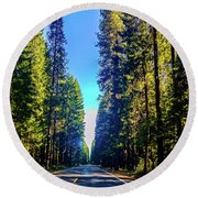 Road Through The Forest Round Beach Towel