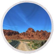 Road Through Valley Of Fire  Round Beach Towel