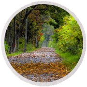 Road To Autumn Round Beach Towel