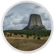 Road To Devils Tower Panorama Round Beach Towel