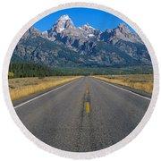 Road To Grand Teton National Park Round Beach Towel