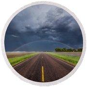 Road To Nowhere - Rainbow Round Beach Towel