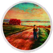 Road To Red Gables Round Beach Towel